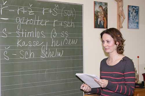 Nina Pösl beim Unterricht